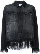 MSGM fringed cropped denim jacket