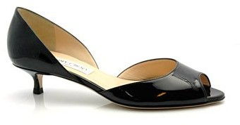"Jimmy Choo Lyon"" Black Patent Kitten Heel Pumps"
