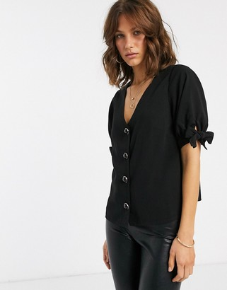 Fashion Union button up top with sleeve detail