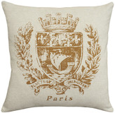 123 Creations Paris Crest Printed Linen Pillow With Feather-Down Insert, Caramel