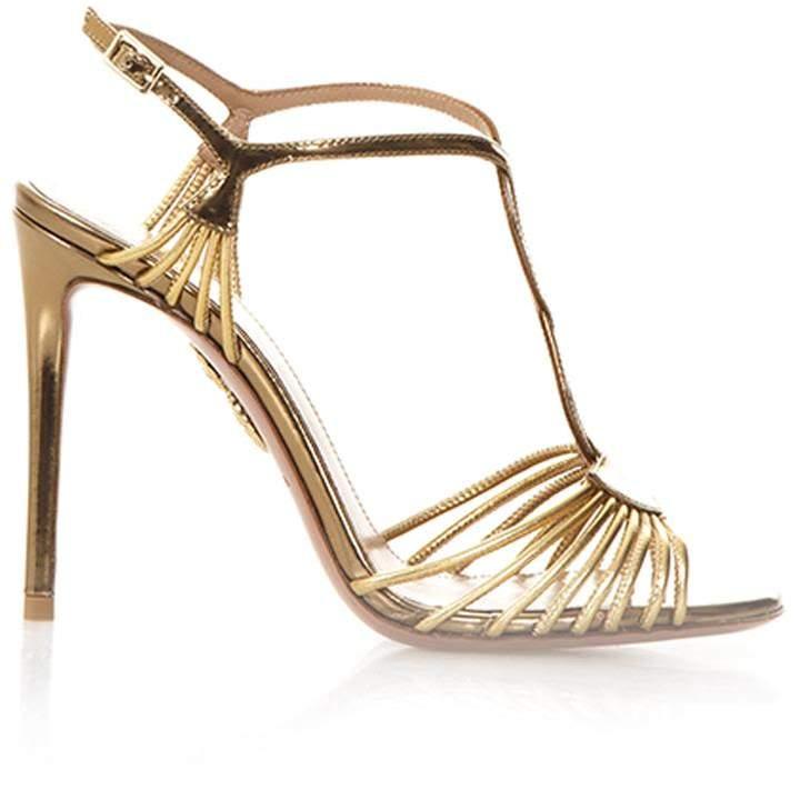 Aquazzura Josephine Gold Leather Sandals
