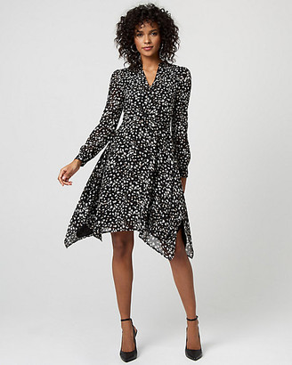 Le Château Abstract Print Chiffon V-Neck Dress