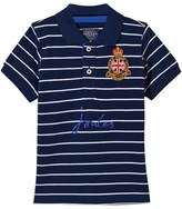Joules Navy Stripe Pique Polo with Embroidered Crest and Logo