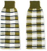 Joseph Checked Stretch-knit Arm Warmers - Green