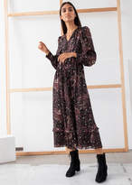 And other stories Paisley Satin Midi Puff Sleeve Dress