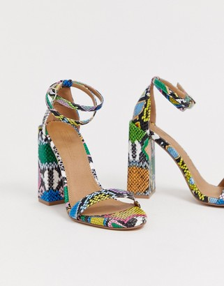 Barely There Asos Design ASOS DESIGN Highlight block heeled sandals in snake-Multi