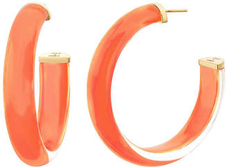 Gold & Honey Small Lucite Hoop Earrings, Living Coral