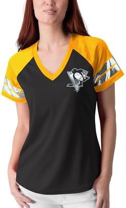 G Iii Women's G-III 4Her by Carl Banks Black/Gold Pittsburgh Penguins Franchise Raglan V-Neck T-Shirt