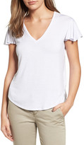 Halogen Flutter Sleeve V-Neck Tee (Regular & Petite)