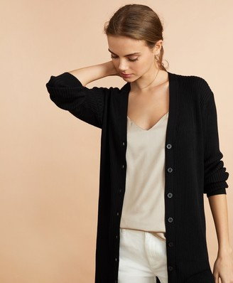Brooks Brothers Rib-Knit Cotton Boyfriend Cardigan