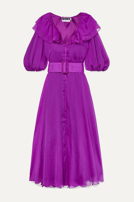 Rotate by Birger Christensen Belted Ruffled Georgette Midi Dress - Magenta