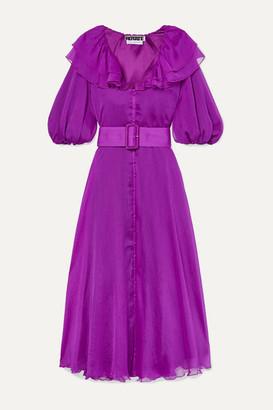 Rotate by Birger Christensen Belted Ruffled Georgette Midi Dress - Magenta