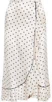 Ganni Leclair Ruffled Polka-dot Satin Midi Skirt - Ivory