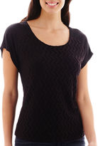 Liz Claiborne Short-Sleeve Lace-Front T-Shirt - Tall