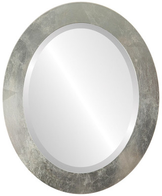 """The Oval And Round Mirror Store Soho Framed Oval Mirror in Silver Leaf with Brown Antique, 15""""x19"""""""