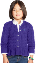 Personalization 2-6x Cabled Cotton Cardigan