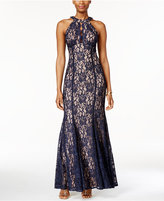 Night Way Nightway Petite Lace Keyhole Halter Gown