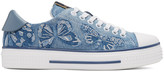 Valentino Blue Denim Camubutterfly Sneakers