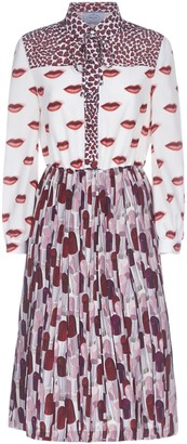 Prada Mix-print Crepe Midi Dress