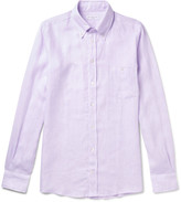 Richard James Button-Down Collar Slub Linen Shirt