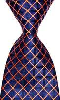 R-ABC Mr.ZHANG New Pattern Checks Orange JACQUARD WOVEN Silk Men's Tie Necktie
