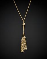 Italian Gold 14K Beaded Double Tassel Lariat Necklace