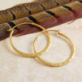Otis Jaxon Silver Jewellery Battered Small Gold Hoop Earrings