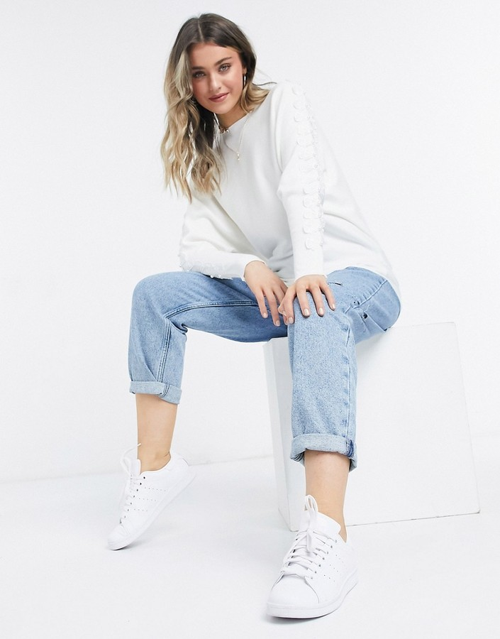Thumbnail for your product : Qed London sweater with bow sleeve detail in white