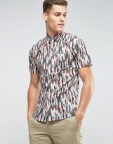Lindbergh Feather Print Short Sleeve Shirt
