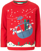 John Lewis Boys' Cable Car Moose T-Shirt, Red