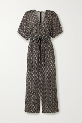 Vanessa Bruno Lelie Belted Printed Cloque Jumpsuit