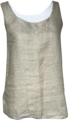 Marella Beige Linen Top for Women