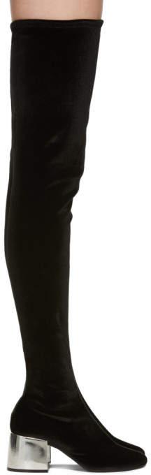 Maison Margiela Black Velvet Over-The-Knee Boots