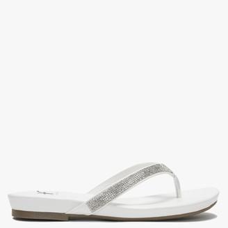 White Diamante Lilow Toe Post Flip Flops