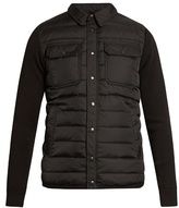 Moncler Quilted-down Long-sleeved Wool-blend Knit Shirt