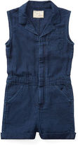 Ralph Lauren 2-6X Linen-Cotton Denim Romper