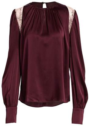 Jonathan Simkhai Lace Shoulder Silk Blouse