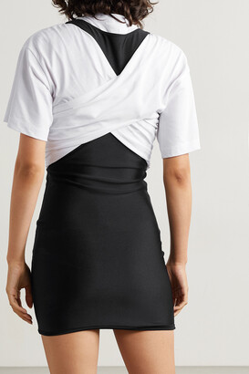 alexanderwang.t Layered Appliqued Stretch-jersey And Ruched Cotton Mini Dress - Black