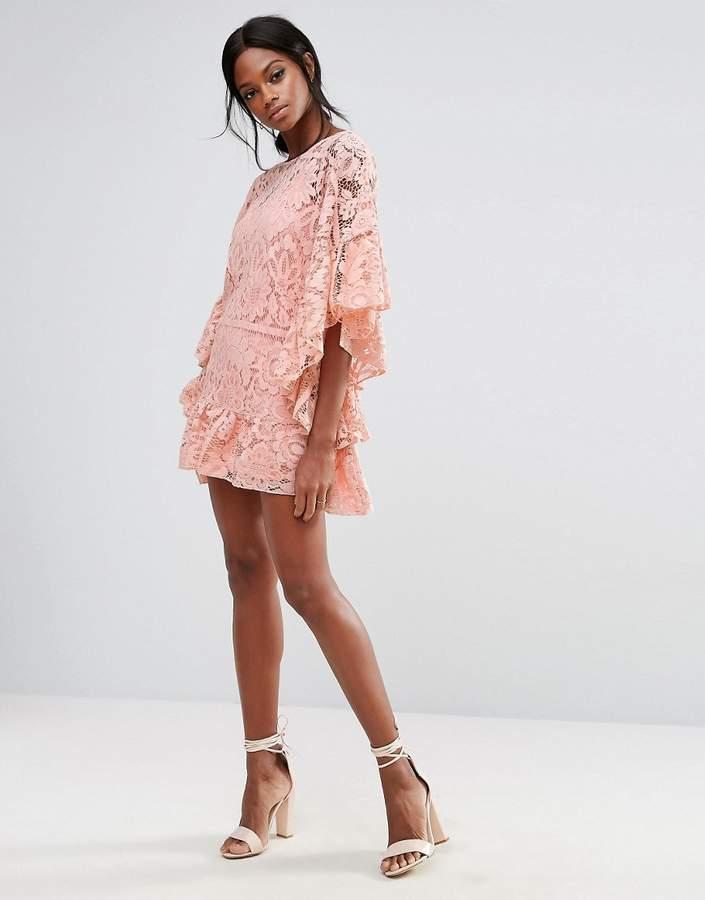 Missguided Lace Kimono Sleeve Dress
