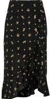 River Island Womens Black ditsy floral frill hem wrap maxi skirt
