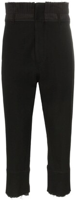 Ann Demeulemeester Pleated Waist Raw Hem Cropped Trousers
