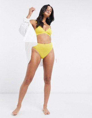 Les Girls Les Boys moss crepe logo detail high waist briefs in yellow