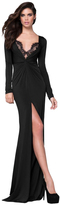 Tarik Ediz Slim Long Sleeve V Neck Twist Dress 50017