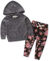 Zoe's wardrobe Baby Girls Floral Hoodie+ Floral Pant Set Leggings 2 Piece Outfits (12-18Months, Grey)