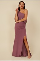 Thumbnail for your product : Little Mistress Bridesmaid Mariah Mauve Embellished One-Shoulder Maxi Dress