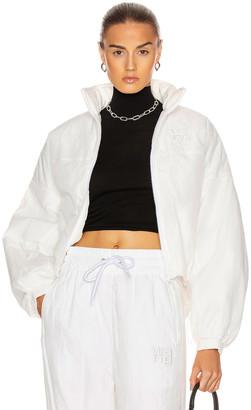 Alexander Wang Raised Logo Embroidery Zip Jacket in White | FWRD