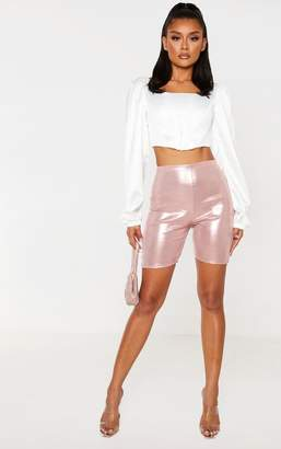 PrettyLittleThing Pink Metallic Slinky Foil Cycle Short