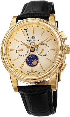Bruno Magli Mens Limited Edition Swiss Made Multi-Function Moonphase Watch With Italian Leather Strap Black & Gold