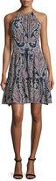 L'Agence Alyse Silk Paisley A-Line Dress, Velvet Blue Combo