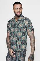 boohoo Short Sleeve Moroccan Print Revere Shirt Co-ord